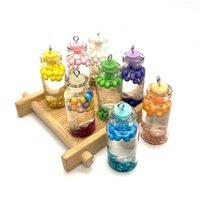 Los encantos colorean el colgante de la botella de vidrio transparente para la joyería hecha a mano de bricolaje de bricolaje que hace suministros collar y accesorios para pendientes