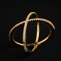 Cluster Rings X Shaped Simple Cross Ring Finger Trendy Jewelry Women's Accessories With Cubic Zirconia Stones Gold