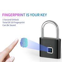 Smart Fingerprint Padlock USB Rechargeable Mini Size Finger Touch Lock For Door Cabinets Gym Locker Bikes School