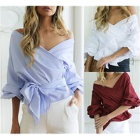 Women Sexy Bandage Blouse Shirt Off Shoulder Latern Sleeves Big Crossing With Bow Pepulm Design Deep V-Neck Summer Short Top Clothes