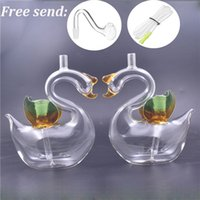 Swan shape Glass Oil Burner Water Bong pyrex thick small Bubbler Dab Rigs for Smoking Hookahs with male glass oil burner pipes and hose 2pcs