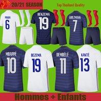 Maillot de foot France BENZEMA KANTE Euro 2021 Soccer Jerseys MBAPPE GRIEZMANN POGBA maillot de foot VARANE COMAN PAVARD Maillot Homme Kit enfant