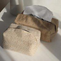 Boîtes de tissus Chambre à linge Tissu Tissu Coque Boîtier Titulaire rectangle Conteneur à la maison Serviette de voiture Serviette Papiers Papiers Sac Pochette Décoration de table Chic