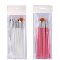 Tırnak Fırçalar Manikür 15 Setleri Kalem Beyaz Çubuk Toz Bar Pototerapi Fırça Çekme Hattı Point Boyama