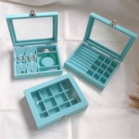 Small Velvet Lake blue Carrying Case with Glass Cover Jewelry Ring Display Box Tray Holder Storage Organizer Earrings 211014