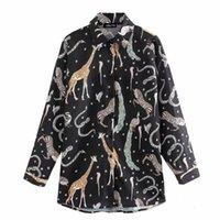 새로운 여성 빈티지 동물 인쇄 캐주얼 웃음 셔츠 블라우스 여성 칼라 비즈니스 루마 여성 Femininas Chemise tops LS6173 201202