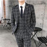Homens Ternos Brazers (Jaquetas + Colete + Calças) 2021 Homens Uxedo Manta Empresa Blazers / Masculino Magro Puro Algodão Três Peece Terno / Homem Noivo Vestido S-4X
