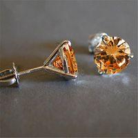 Luxury Female 6 7 8mm Champagne Round Stone Earrings Real 925 Sterling Silver Earrings For Women Small Screw Stud Earrings