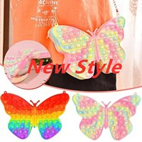 New Butterfly Simple Dimple Chain Cross Bag Fidget Toys Push Bubble Antistress Children Toy Pops Its Keychain Wallet free DHL FAST