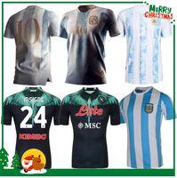 2021 Argentina Messi Retro 1978 1986 Maradona Futebol Jersey 20 21 Nápoles Napoli Away Camisa de Futebol