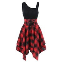 Casual Dresses Fashion For Women Sleeveless Cold Shoulder Cross Lace Up Plaid Print Irregular Dress Sexy Prom Clothing 2021