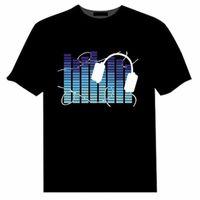 Hombres Mujeres Algodón T Shirt Sound Activated LED Luz Tshirts Big Plus Size Extrecho Color Puro Moda Ropa Casual 6XL 5XL 4XL 210707