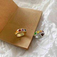 Vintage Bohemia colorido esmalte amor corazón anillo lindo simple metal oro oro anillos de color para mujer anillo de humor Q0708