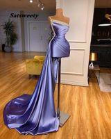 Long Evening Dress 2021 One Shoulder Luxury Beads Dubai Arabic Women Violet Formal Prom Gowns
