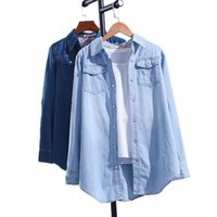 Men's Casual Shirts Women Shirt Denim Cotton Tops 2021 Autumn Thick Pockets Single Breasted Button Up Lapel Long Sleeve Large Size Blue