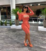 성격 레저 트랙스 소프트 긴 소매 크로스 편지 인쇄 옷 + 단색 탄성 벨트 반바지 2 조각 여성 세트