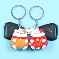 New Cartoon Lucky Cat Keychain Women Cat Car Key Ring Charm Bag Pendant Key Chain Gift Accessories H0915