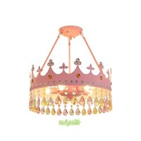 Creative Kids Bedroom Chandelier Girls Princess Crown Crystal Pendant Lamp Childern Room Gold Pink Ceiling Hanging Lighting Lamps