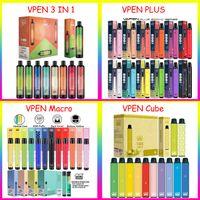 원래 Vapen Puls 큐브 매크로 3 in 1 일회용 vape 펜 전자 담배 800 1600 2000 3000 퍼프 650 mAh 배터리 12 색 1550mAh 용량 4.5 6.8 ml 증기 퍼프 바