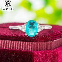 Cluster Rings GZ Brazilian Paraiba Tourmaline Gemstones Ring For Women Genuine 925 Sterling Silver White Rhodium Engagement Size 4 10