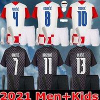 성인 + 키트 키트 2021 Modric Soccer Jersey National Team Mandzukic 홈 멀리 Orsic 2122 Perisic Rakitic Srna Kovacic Brozovic Rebic Football Shirts
