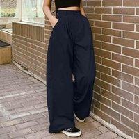 Women's Pants & Capris Fashion Wide Leg Solid Trousers ZANZEA 2021 Casual Zipper Long Pantalon Palazzo Female Pleated Overalls Turnip 7