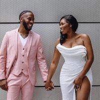 Men's Suits & Blazers Summer Handsome Pink Notch Lapel Tuxedo Beach Wedding Man Suit 3 Pieces Formal Blazer Custom Made (Jacket+Pants+Vest)