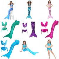 3pcs Set Girl Swim Suit Cute Beach Bikini Swimming Tops Trunks Mermaid Fish Tail Multi Color Girls Swimwear Sport Outdoor 31ts G2