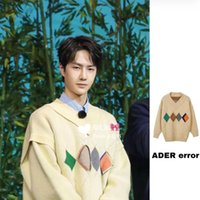 Autumn winter 2020 Wang Yibo's Adare error diamond check loose t-shirt men's and women's same sweater factory outlet