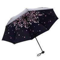Kadınlar için şemsiye Katlanır Japon Kiraz Çiçeği Anti-Ultraviyole Siyah Kauçuk Güneş Kremi Üçlü Katlı Güneş Şemsiyesi Şemsiye
