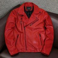 Veste en cuir véritable rouge Printemps 2021 Moto Manteau de peau de mouton Vestes de style coréen Plus Taille 4XL Chaquettas Hombre PPH4122 Homme Fau
