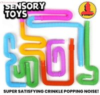 Mini Pop tube Fidget Pop Tube Twist Tubes Sensory Toy Finger Fun Game Stress Anxiety Relief Squeeze Pipes Stretch Telescopic Bellows FY2700