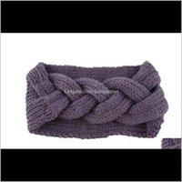 Jewelry Drop Delivery 2021 Knitted Crochet Headband Women Winter Fashion Warm Headwrap Hairband Turban Ear Warmer Beanie Cap Headbands Hair A
