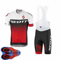 Scott Team Ropa Ciclismo 통기성 남성 사이클링 짧은 소매 저지 턱받이 반바지 세트 여름 도로 경주 의류 야외 자전거 유니폼 스포츠 Suit S210042087