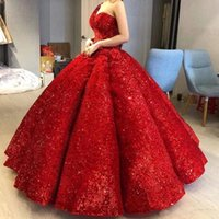 Stunning One Shoulder Sequined Ball Gown Quinceanera Dresses Ruched Sweet 16 Party Dress Red vestido de 15 anos