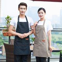 Hombres mujeres ajustables delantal de babero impermeable 2 bolsillos cocina hornear cocinar puro