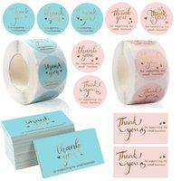 Tarjetas de felicitación 500pcs / Roll Gracias Gracias Pegatinas para apoyar a mi pequeña empresa Etiquetas de etiquetas de regalo de boda hechas a mano