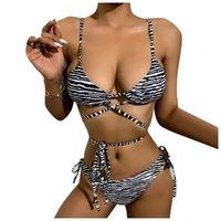 Feminina Swimsuit Feminina Swimsuit Listrado Sexy Split Imprimir Estrapo Aberto Voltar Bikini de Playa Swimwear