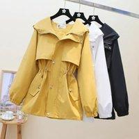 Women's Jackets 2021 Autumn Jacket Coat Long Sleeve Zipper Pockets Casual Windbreaker Female Hooded Basic Outerwear