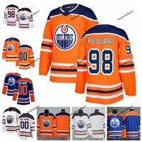 2019 anpassen Edmonton-Öler Jesse Puljujarvi Hockey-Trikots Alternative Herren Blau Orange 98 Jesse Puljujarvi Nähte Jerseys Hemd S-XXXL