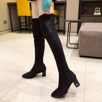 Boots Women's Over-the-knee 2021 Autumn And Winter High-heeled Slimming Embroidered Tight Stretch Square Heel