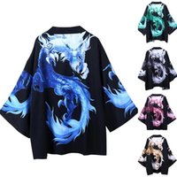 Men's Casual Shirts Multicolor Domineering Cool Dragon Pattern Kimono Summer Japanese Five Point Sleeves Mens And Womens Cloak Jacke Top