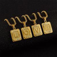 A-z letra inicial quadrado colar de pingente para mulheres homens ouro alfabeto charme cadeia choker jóias por atacado 504 z2