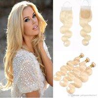 Brasiliano dritto wave di capelli umani tessuti per capelli umani 3 bundle 613 Blonde Bionde Capelli di capelli umani con chiusure frontali miele Platinum Capelli vergini