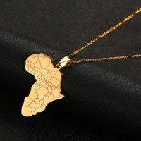 Pendentif Colliers Acier inoxydable Tendance Afrique Carte avec Congo African Cartes Bijoux en chaîne