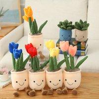 Lifelike tulipscuculentculent plantas de peluche juguetes de peluche de peluche de estantería blanda decoración de muñecas creativas flores en maceta almohada decoración para el hogar niño regalo CS11
