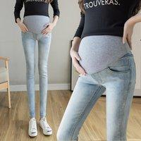 Mujeres Jeans Maternidad Pantalones de mezclilla delgado Abdomen Tamaño ajustable Diseño Comfort Ocio Ocio Mujer Alta Cintura Alta Pantalones de vientre