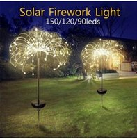 Solar Powered Outdoor Grass Globe Dandelion Lamp 90 120 150 LED For Garden Lawn Landscape Lamp Holiday Light
