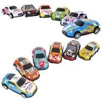 12pcs Classic Alloy Racing Iron Graffiti Diecasting Car 164 Simulation Mini Pocket Pull Back Inertia Car For Children Toy Gift