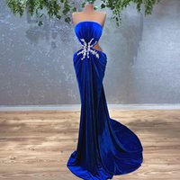 Royal Blue Gown Women Prom Dress Mermaid Velvet Beads Strapless Cutway Side Sexy African Girl Evening Party Dresses